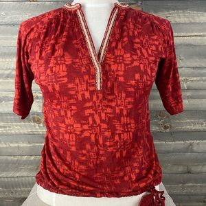 Lucky brand blouse with side tassel